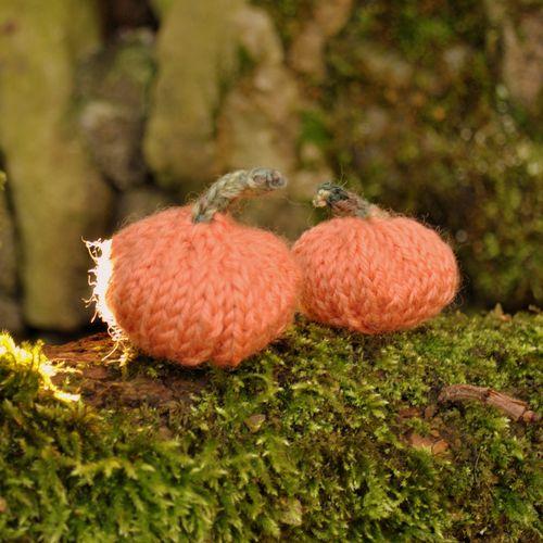 knitted mini pumpkins