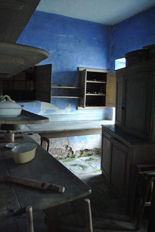 Original kitchen pantry in the cellars, nice blue walls