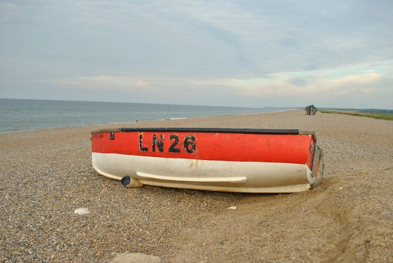 red boat on Cley beach