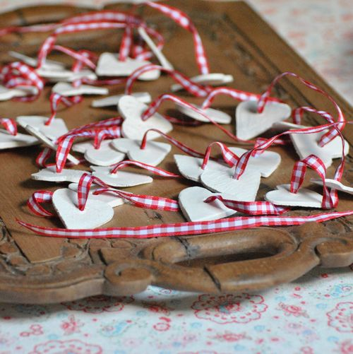 gingham heart garland