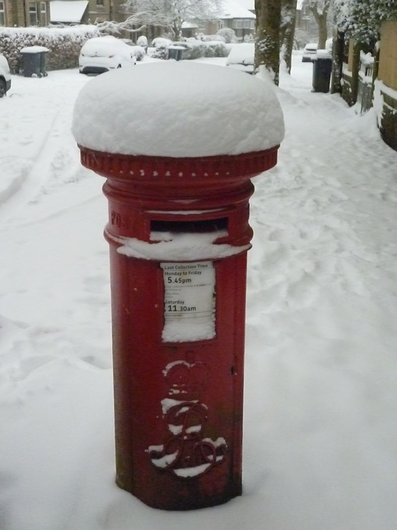 snowy post box